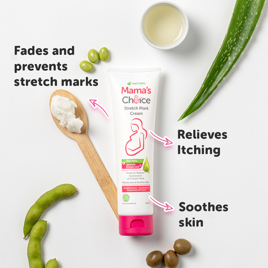 Mama's Choice Stretch Mark cream. Fades and prevents stretch marks. Relieves itching. Soothes skin.