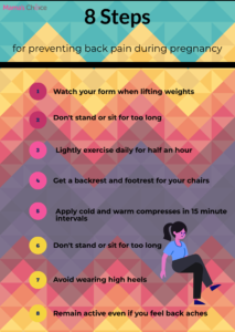1. Watch your form when lifting weights. 2. Don't stand or sit for too long. 3. Lightly exercise daily for half an hour. 4. Get a backrest and footrest for your chair. 5. Apply cold and warm compresses in 15 minute intervals. 6. Don't stand or sit for too long. 7. Avoid wearing high heels. 8. Remain active even if you feel back aches.