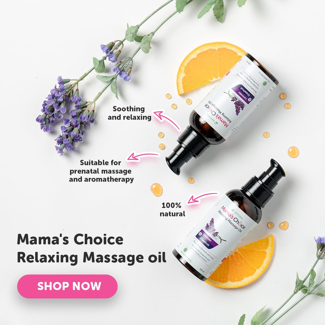 Mama's Choice Relaxing Massage Oil is a soothing and relaxing prenatal massage oil.